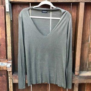 Fashion Nova Olive Green V-Cut Long Sleeve Blouse